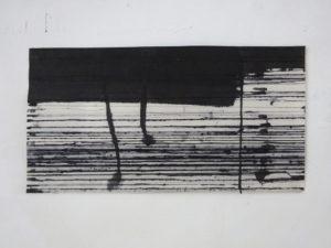 entlang 2021 malerei oel/tusche auf papier 16 x 31 cm