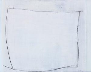 unquadrat weiss 2019 malerei-zeichnung oel/graphit auf glas 29,5 x 37,5 cm
